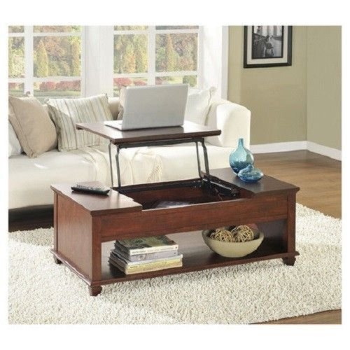 Lift top storage folding coffee table folds out for laptop for Fold out coffee table