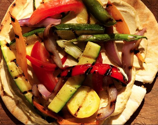 Grilled Summer Vegetable Pita Pizza with Hummus Recipe - http://www ...