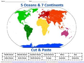 Paint plate blue. Color 7 Continents. Label continents and 5 Oceans ...