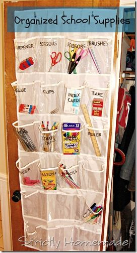 Use a hanging shoe rack to organize your school supplies