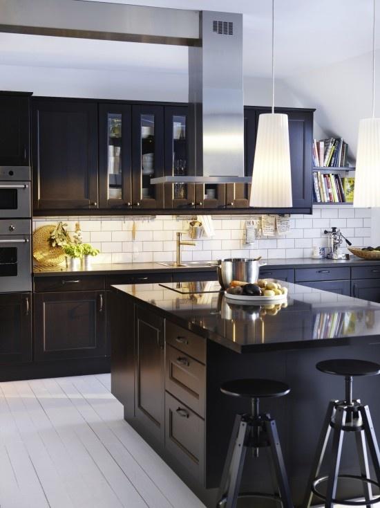 Ikea Kitchens Ramsjo Black Brown Home Pinterest