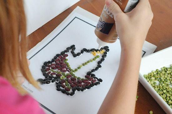 Bean mosaic art project • Artchoo.com
