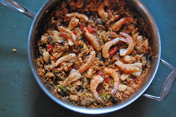 shrimp and mushrooms paella with chicken mushrooms and shrimp shrimp ...