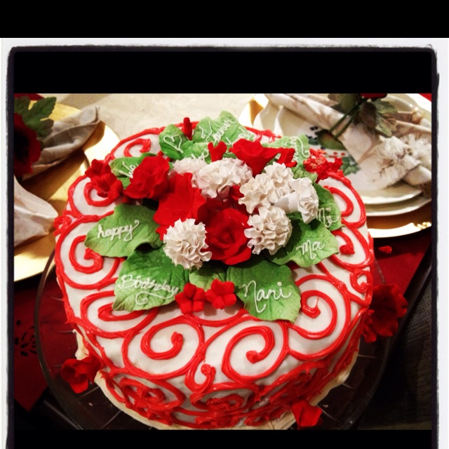 Cake I baked for z's grandmothers birthday! Inside are alternate ...