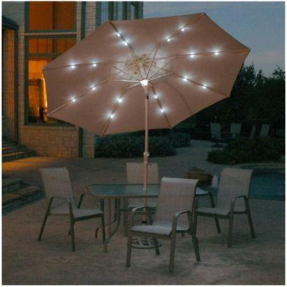 Solar Lighted Patio Umbrella Beige 9