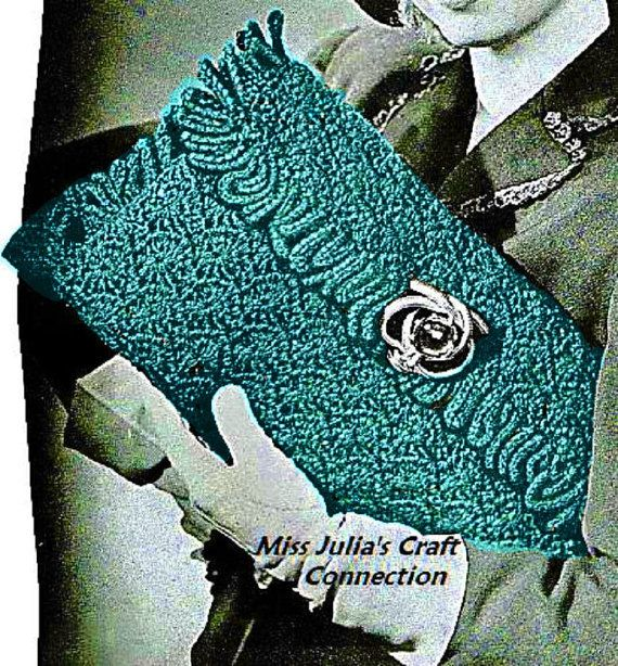 Vintage Crochet Clutch Pattern : Vintage 1940s Elegant Envelope Clutch: vintage pattern for sale