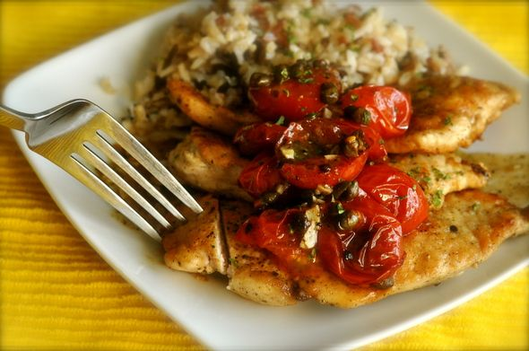 Chicken cutlets with sauteed tomatoes and capers