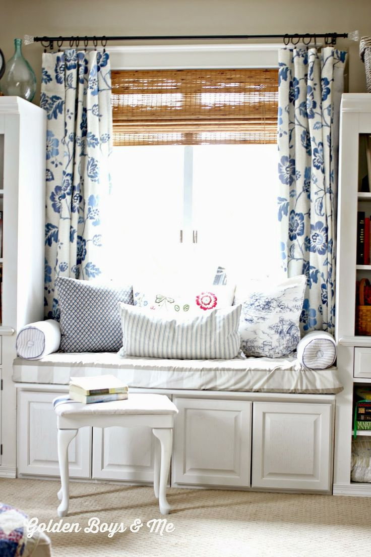Master bedroom window panels for Window seat curtains