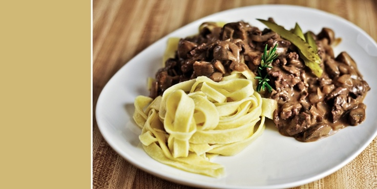 Beef Stroganoff with beef steak and homemade pasta. One of my favorite ...