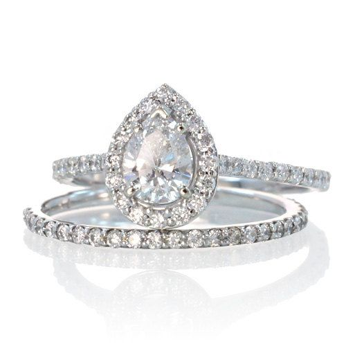 Pear Shape Teardrop Diamond Halo Engagement Solitaire Ring Bridal Set
