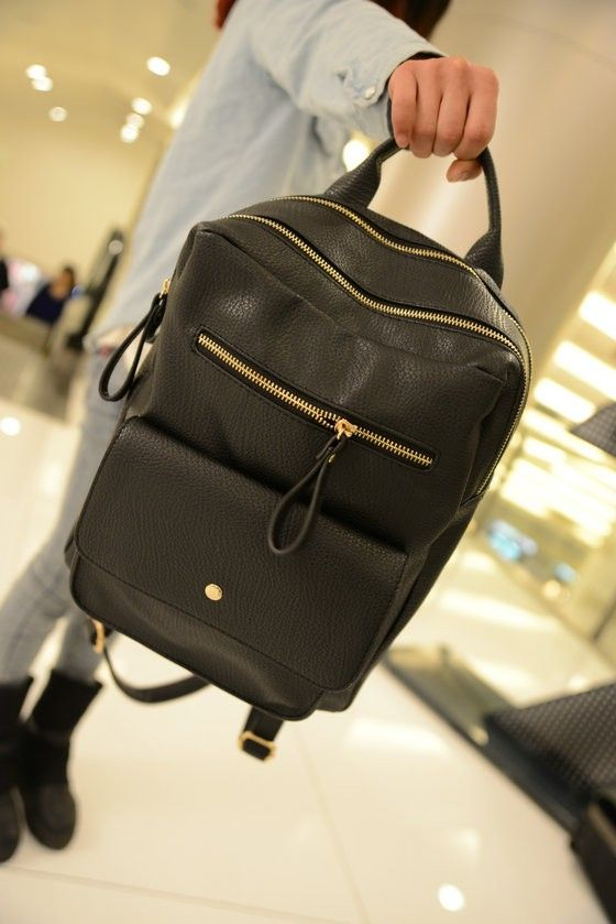 Black Leather Backpacks Satchel For Women Fashion Teenager School Bags