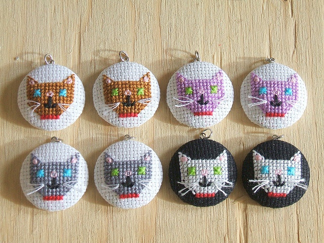Cross-Stitched Cat Pendants