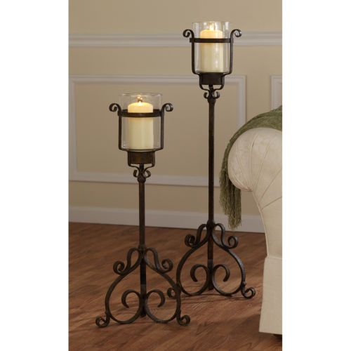 Italian Renaissance Style Medieval Metal Floor Table Candle Holders