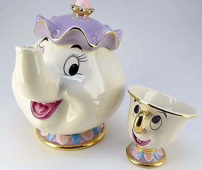 Disney Beauty and The Beast Tea Pot & Cup Tea set Mrs. Pot and Chip