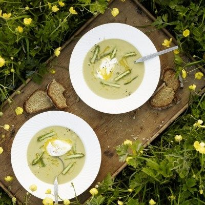 soup with poached eggs and toast healthy egg cream of asparagus soup ...