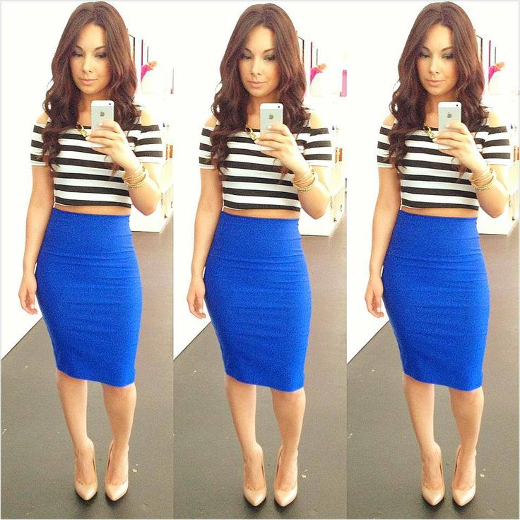 royal blue pencil skirt clothes