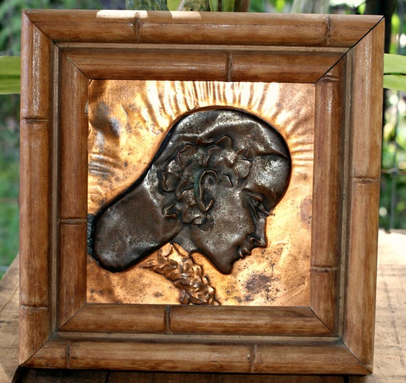 Pressed Copper Hawaiian Girl by redemptionart on Etsy, $50.00