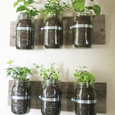 Using mason jars, an old board, and pipe clamps, learn how to create an adorable indoor or outdoor planter. I think these would look so cute on a kitchen wall filled with herbs!