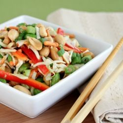 Asian Peanut Slaw with Peanut Ginger Dressing- sub agave for honey