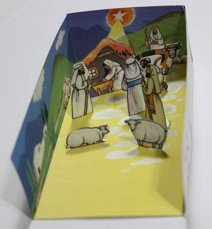 Color de la Natividad Diorama para imprimir