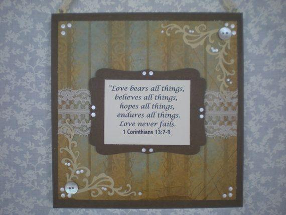 Bible verse scripture decor corinthians wall hanging for Bible verse decor