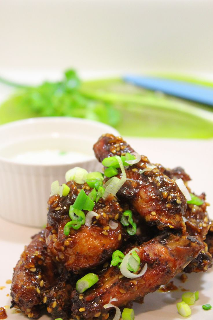 Crispy Baked Asian Chicken wing with orange honey sauce!!! http ...