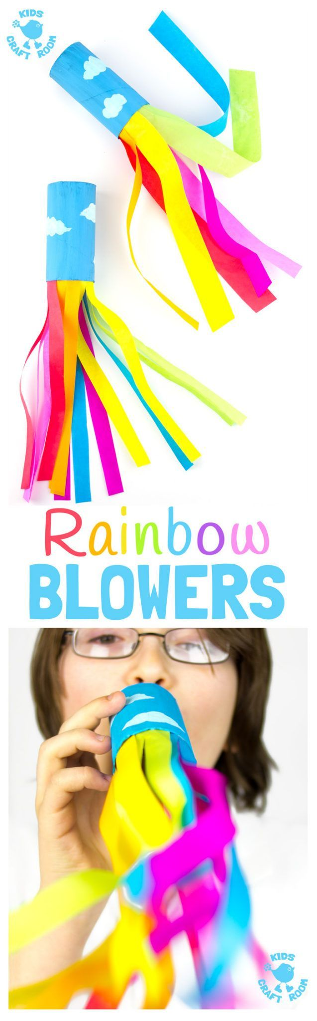 CARDBOARD TUBE RAINBOW BLOWERS are a colourful and fun kids craft! Kids love blowing this rainbow craft to see the streamers