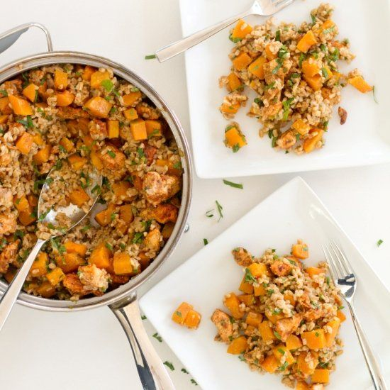 Baked Chicken & Squash with Parmesan Farro - a healthy comfort food ...