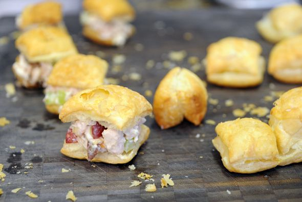 Chicken Salad Puffs- super duper easy and yummy. Just remember you ...