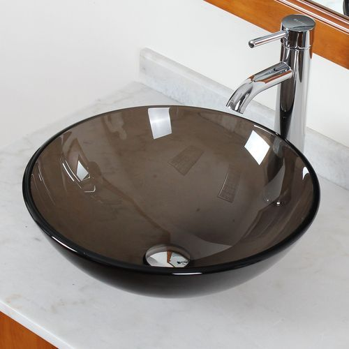Brown Glass Vessel Sink : New Bathroom Clear Brown Glass Vessel Sink Chrome Single Lever Faucet ...