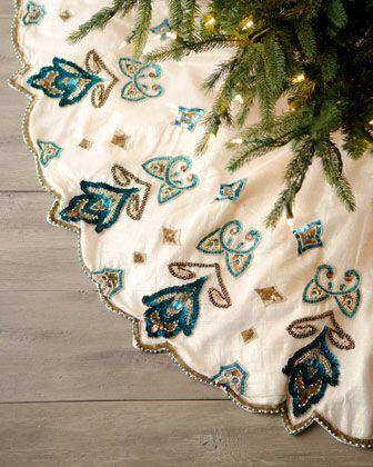 """Blue Spruce"" Royal Gate Christmas Tree Skirt by Kim Seybert  #Tree Skirt #Holiday #Horchow"