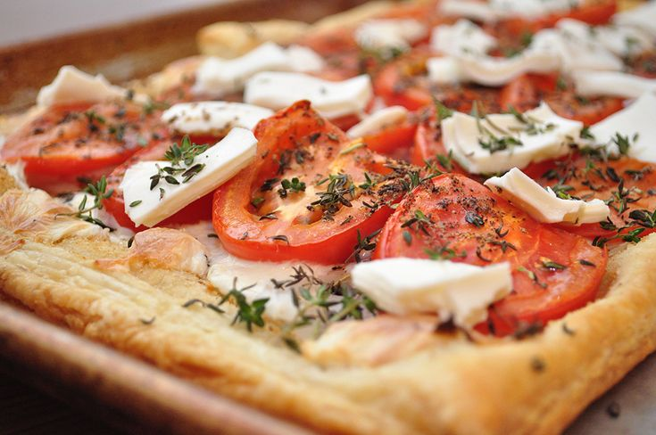 tomato cheese puff pastry tart