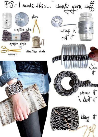DIY Chunky Yarn Cuff