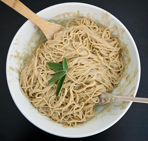 Chestnut, Sage and Prosciutto Spaghetti from EclecticRecipes.com