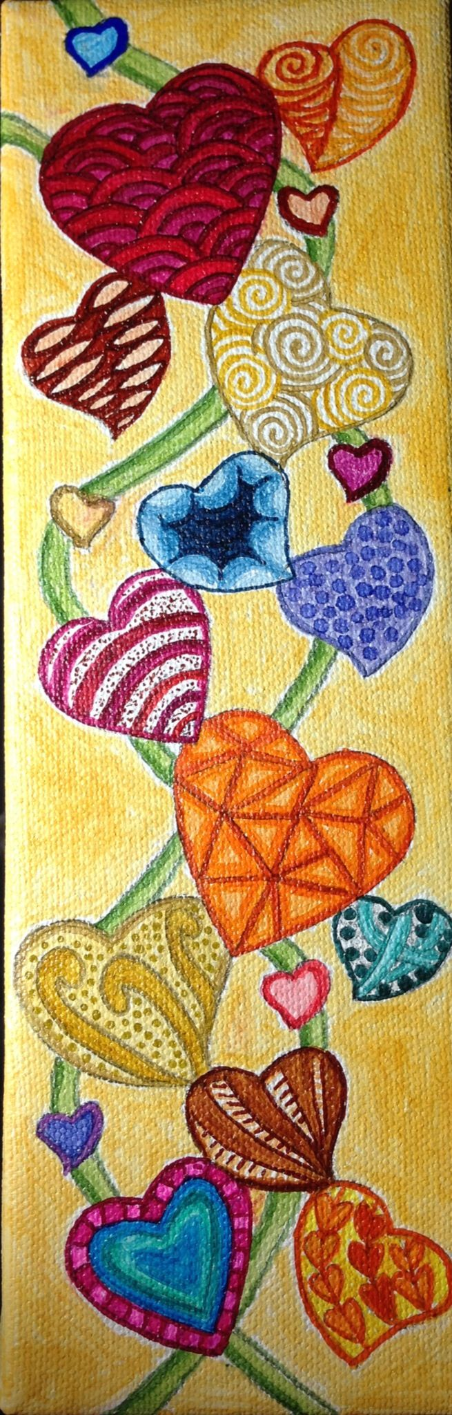 Zentangled hearts on canvas   -   yes, good thought!!   Stretch art onto canvas!!