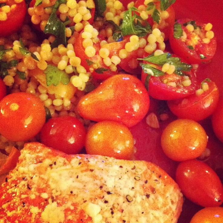 Slow roasted salmon with Israeli couscous, baby heirloom tomatoes ...
