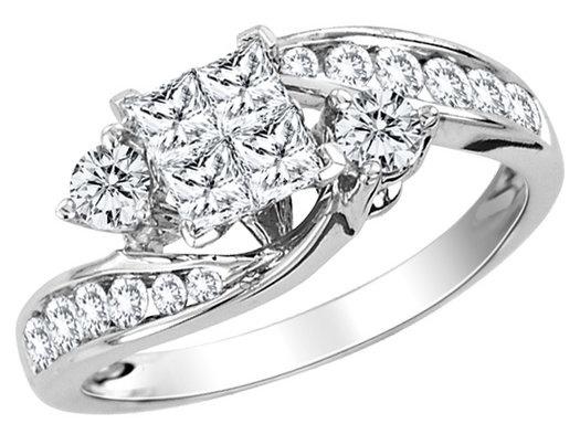 Princess Cut Diamond Engagement Ring 1.10 Carat (ctw) in 14K White ...
