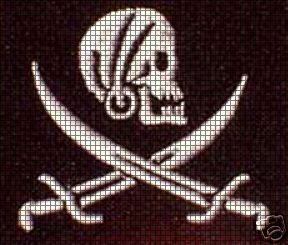 Pirate Skull, Sword and Hat Applique Crochet Pattern