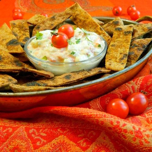 Spiced Chapati Chips With Garden Veggie Raita Dip