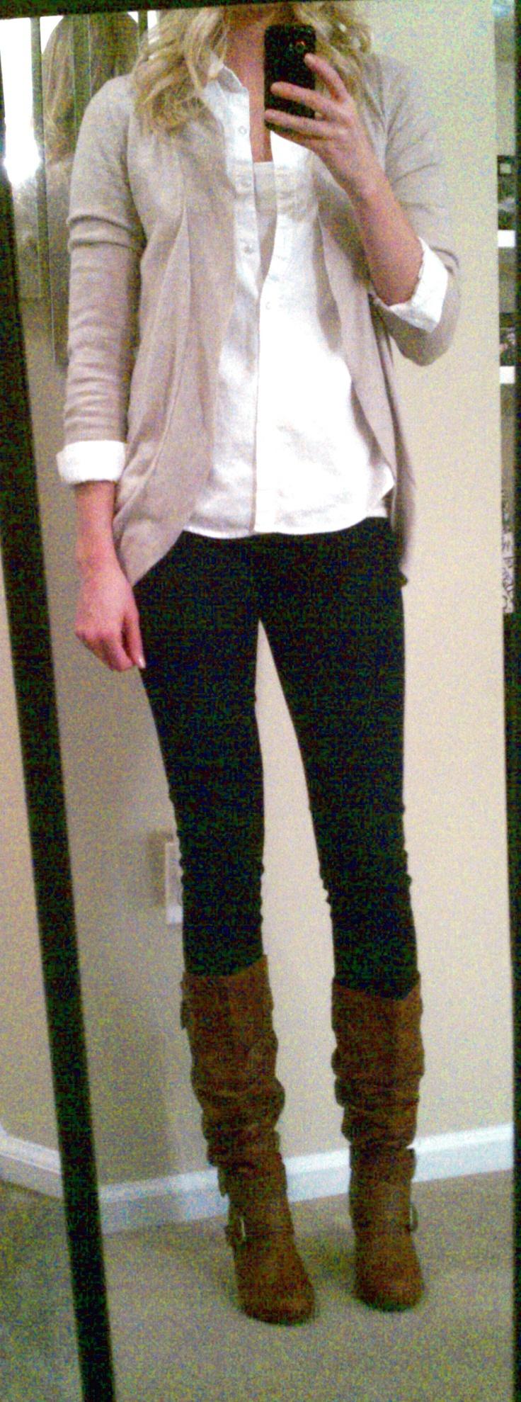 Brown Boots Black Pants SO CUTE | FASHION | Pinterest