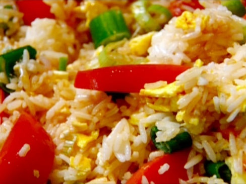 Egg Fried Rice with tomato and green onion from CookingChannelTV.com