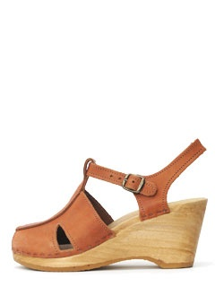 T-strap clog on wedge No. 6