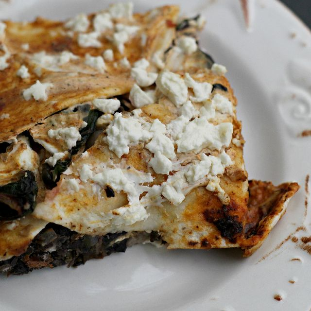 ... Pasilla-Tortilla Casserole with Black Beans, Mushrooms, and C