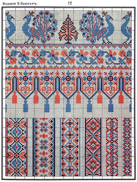 Русская народный орнамент вышивка крестом 673
