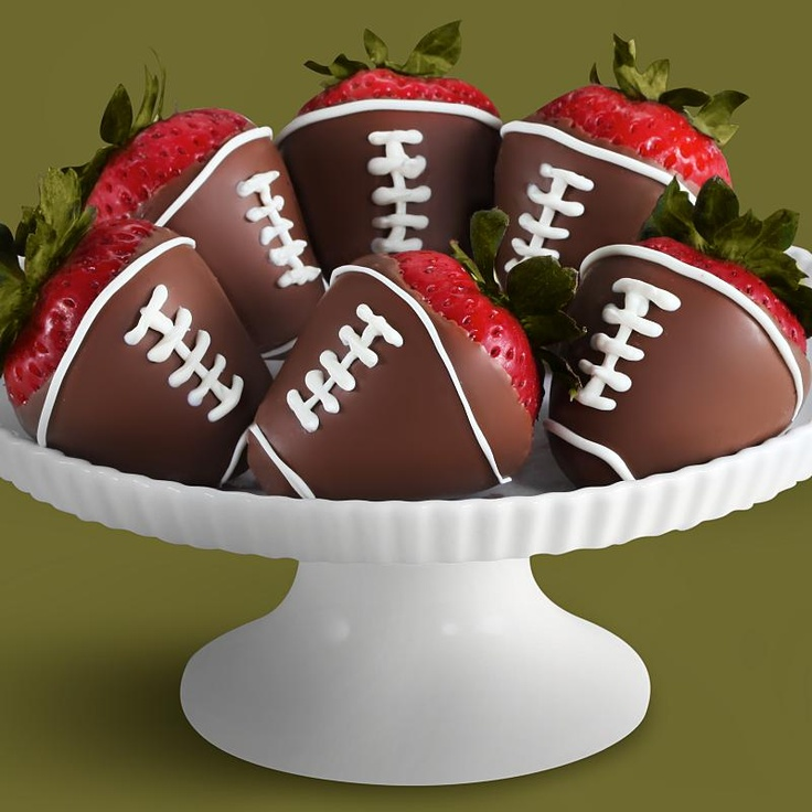 Chocolate dipped football strawberries | Sweet Desserts! | Pinterest
