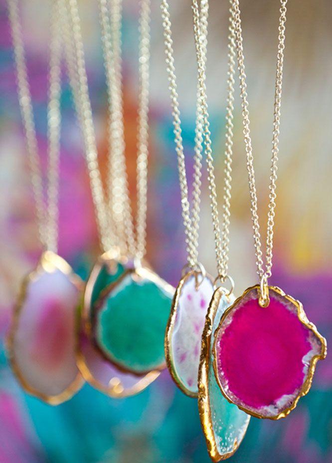 Agate stone pendant necklaces.