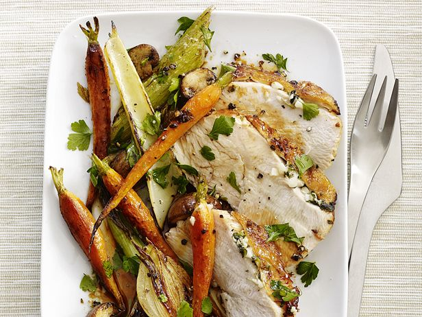 Skillet Turkey With Roasted Vegetables from Food Network Magazine #Veggies #Protein #MyPlate