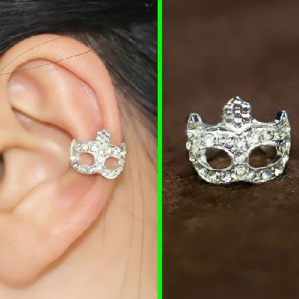 Silver Opera Mask Rhinestone Ear Cuff (Single, No Piercing) | LilyFair Jewelry, $9.99!