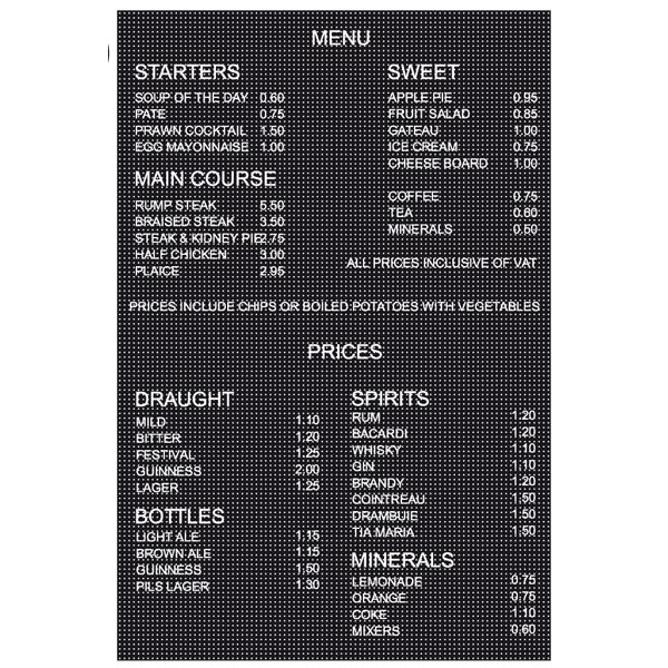 Letters And Numbers For Menu Boards