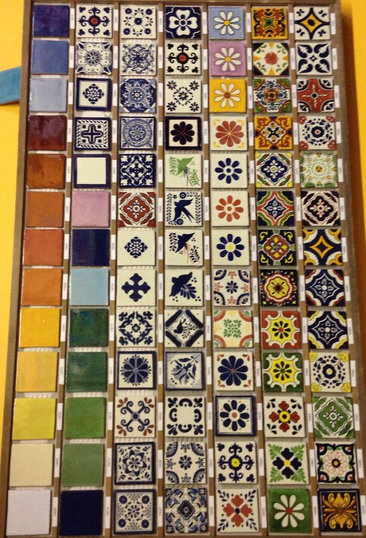 Hand painted tile backsplash